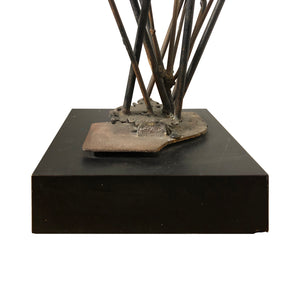 WELDED BRONZE ROD SCULPTURE WITH GLASS INCLUSIONS IN THE STYLE OF CLAIRE FALKENSTEIN - Flair Home Collection