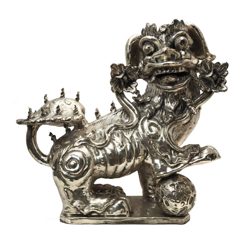 TERRACOTTA DRAGON WITH BALL SCULPTURE - Flair Home Collection