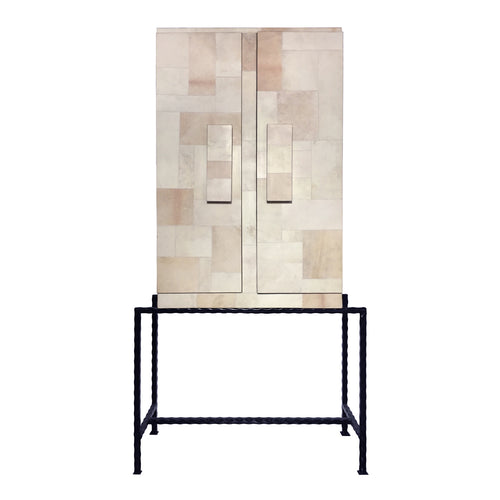 MIDCENTURY PATCHWORK PARCHMENT CABINET - Flair Home Collection