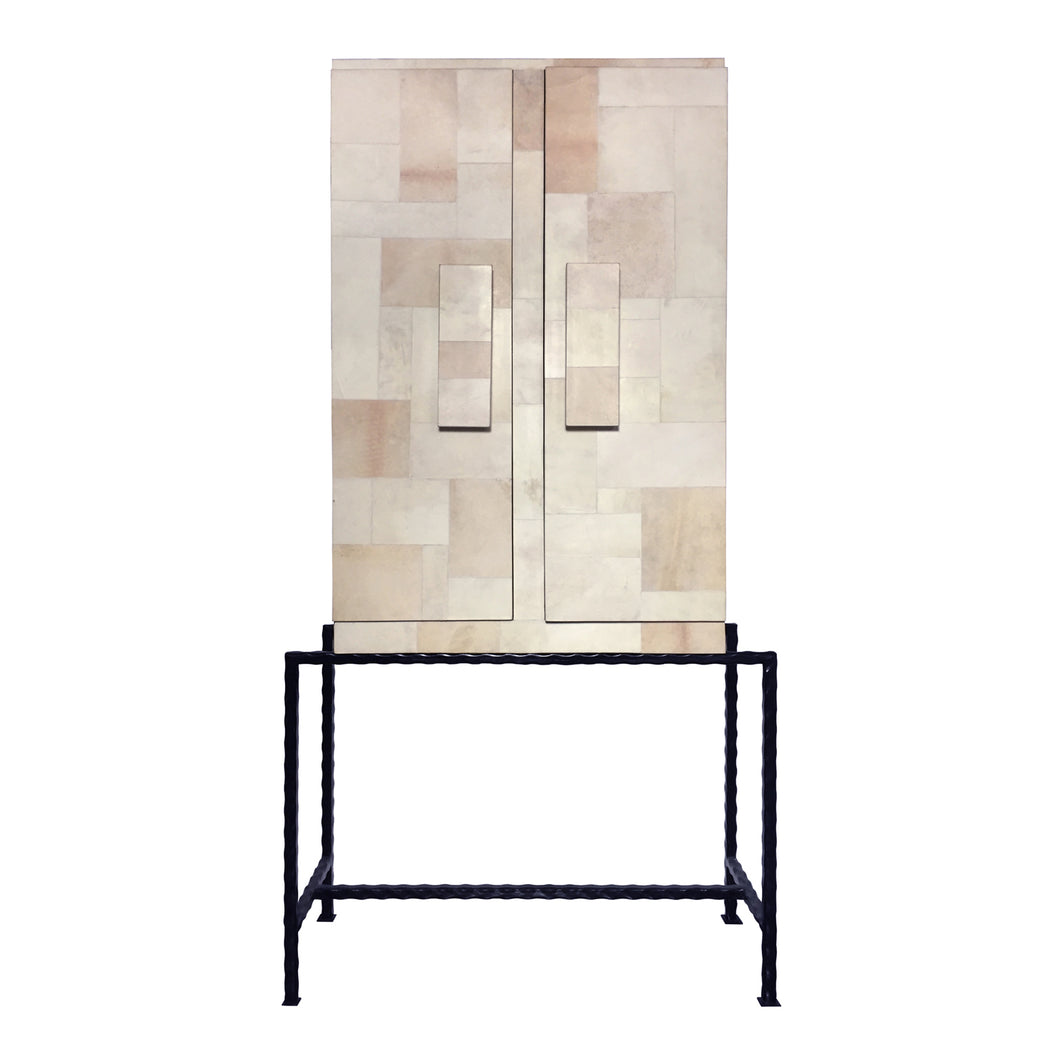MID-CENTURY PATCHWORK PARCHMENT CABINET - Flair Home Collection