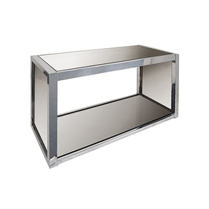 BRASS AND CHROME CONSOLE WITH SMOKED GLASS - Flair Home Collection