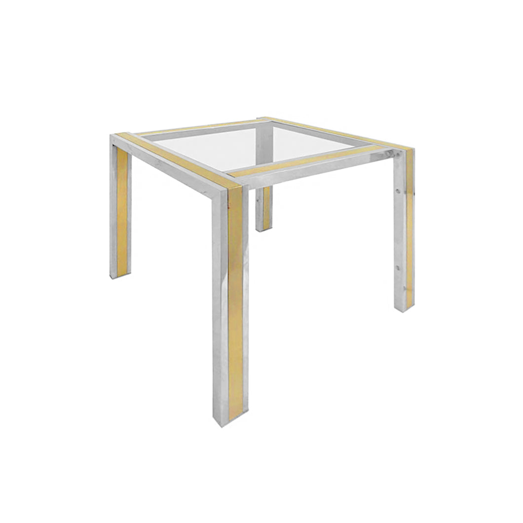 FRENCH SQUARE CHROME AND BRASS SIDE TABLE - Flair Home Collection