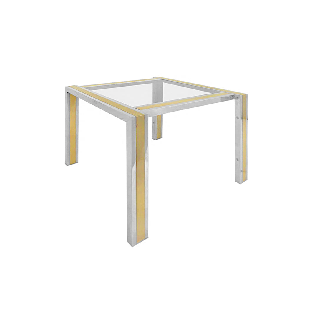 FRENCH LOW SQUARE CHROME AND BRASS SIDE TABLE - Flair Home Collection