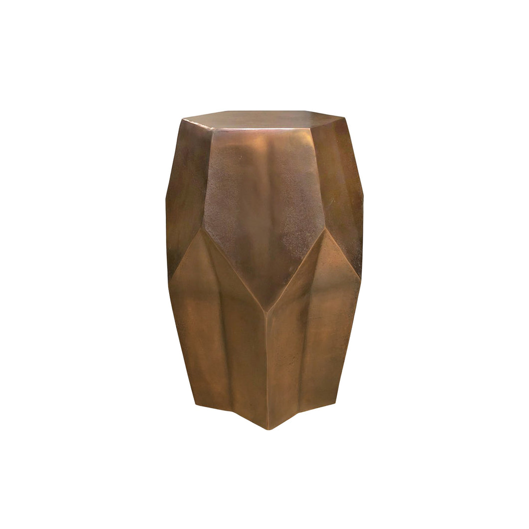 BRONZE FACETED SIDE TABLE - Flair Home Collection