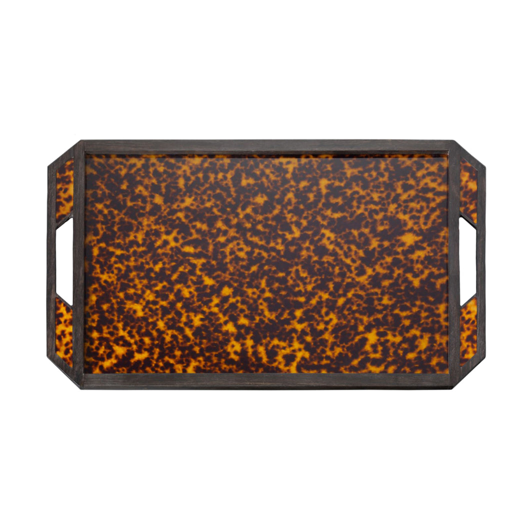 HANDMADE LUCITE FAUX TORTOISE SHELL TRAY - Flair Home Collection
