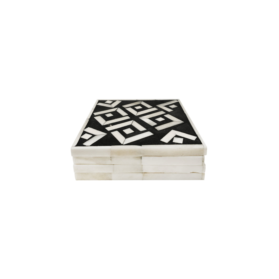 GEOMETRIC BLACK AND WHITE HORN COASTER SET - Flair Home Collection