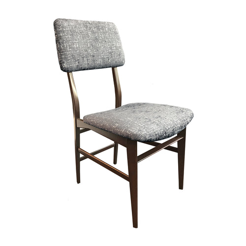 VINTAGE VITTORIO DASSI WOOD FRAME DINING CHAIR IN STEEL BLUE VELVET - Flair Home Collection
