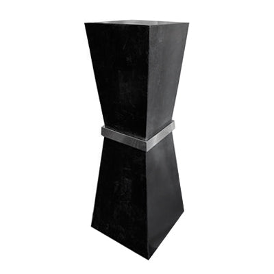 LARGE ARIS BLACK STONE PEDESTAL - Flair Home Collection