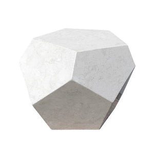 PIETRO POLYHEDRAL SIDE TABLE IN IVORY STONE - Flair Home Collection