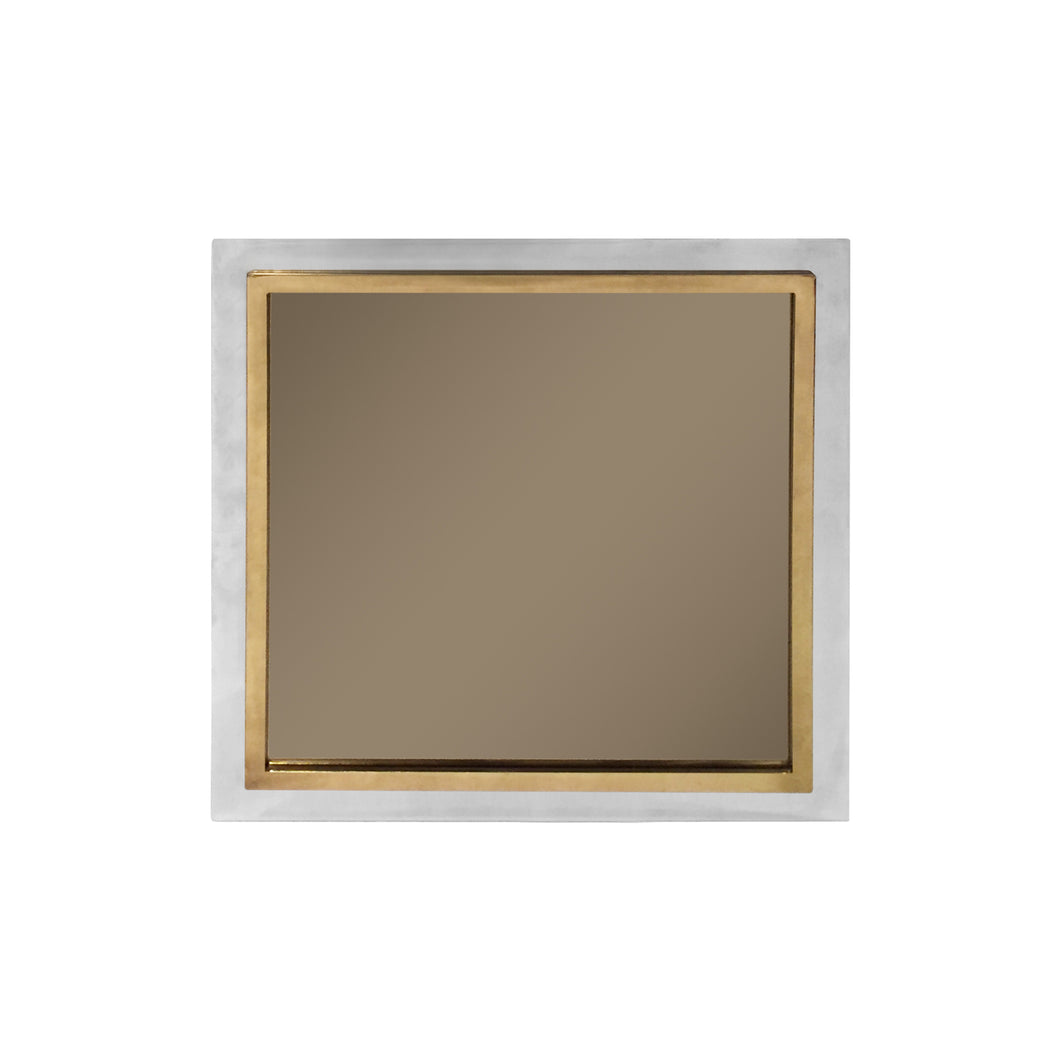 VINTAGE SQUARE CHROME AND BRASS MIRROR - Flair Home Collection