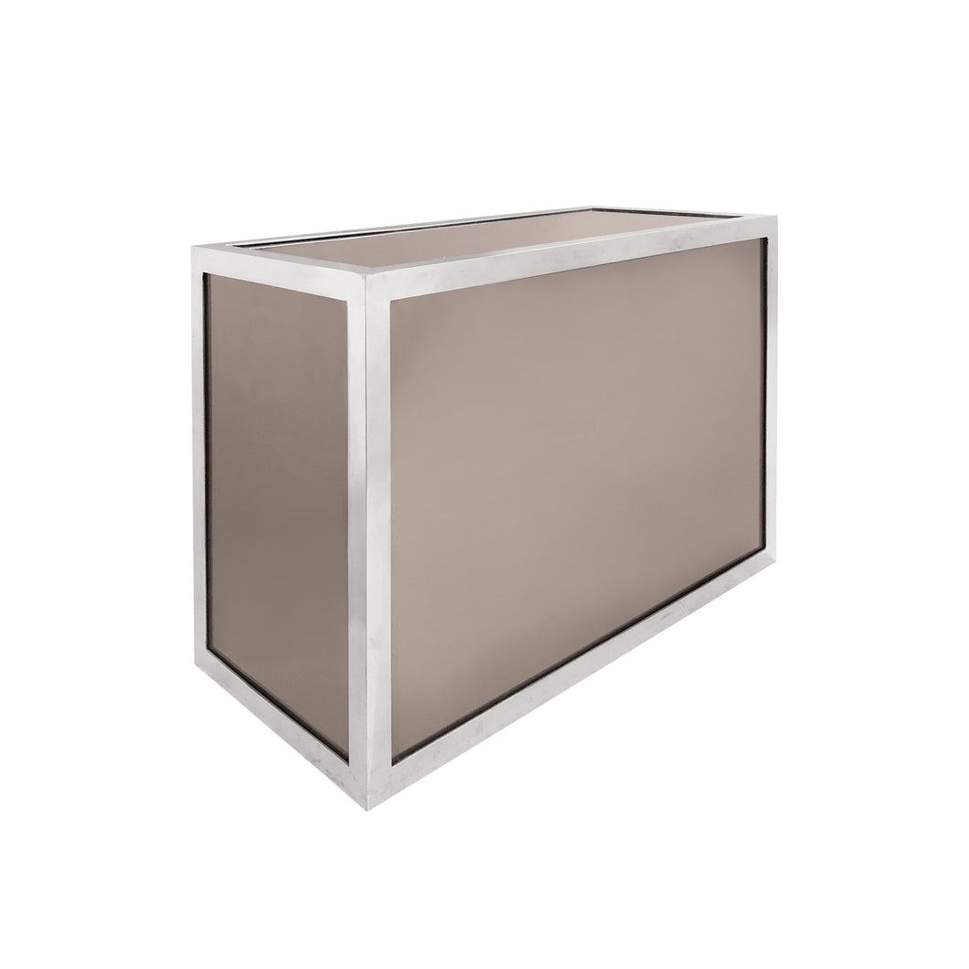 1970'S RECTANGULAR SMOKED MIRRORED GLASS AND CHROME SIDE TABLE - Flair Home Collection