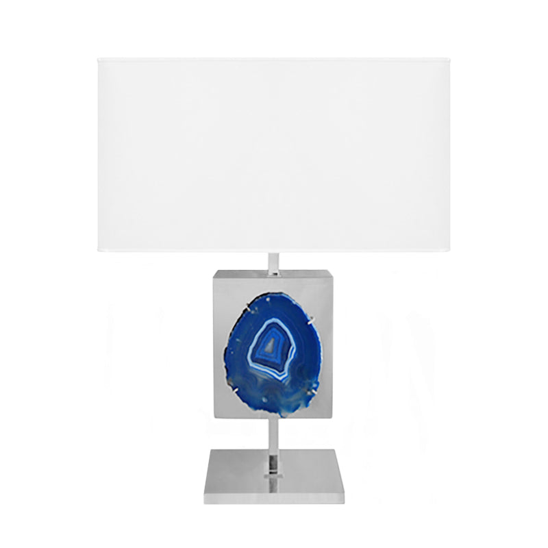 NICKEL ARAL TABLE LAMP WITH BLUE AGATE SLICE - Flair Home Collection