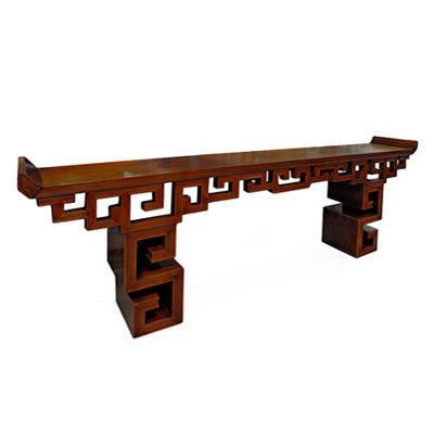 CHINESE HIMALAYAN PINE GEOMETRIC LEG CONSOLE - Flair Home Collection