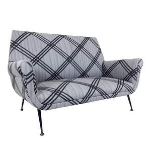 MID-CENTURY ITALIAN SETTEE UPHOLSTERED IN HAND-PAINTED LIVIO DE SIMONE FABRIC - Flair Home Collection