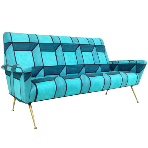 MID CENTURY SOFA IN HAND-PAINTED BLUE CUBE PATTERN LIVIO DE SIMONE FABRIC - Flair Home Collection