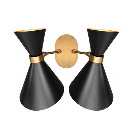 DOUBLE PEGGY WALL SCONCE IN BLACK - Flair Home Collection