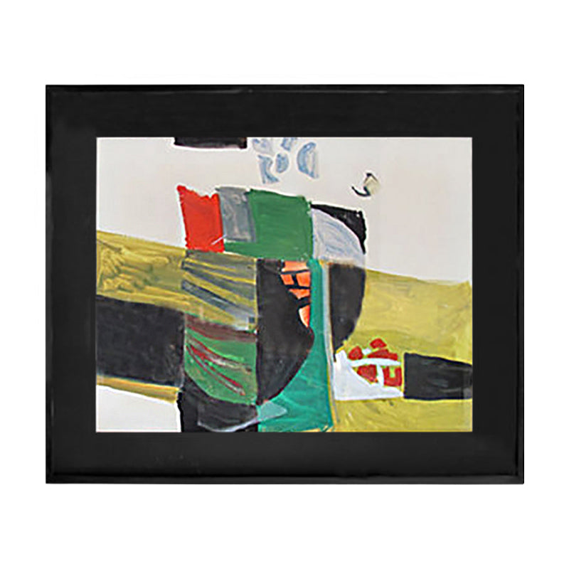 COLORFUL ABSTRACT OIL ON PAPER IN BLACK, GREEN, RED AND YELLOW - Flair Home Collection