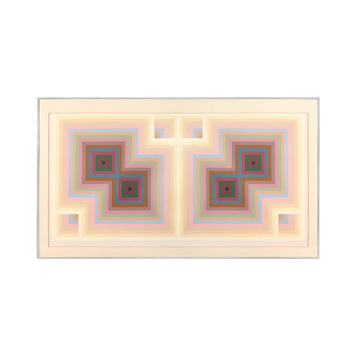 GEOMETRIC MIRRORED TWIN SQUARE PRINT IN PASTEL TONES - Flair Home Collection