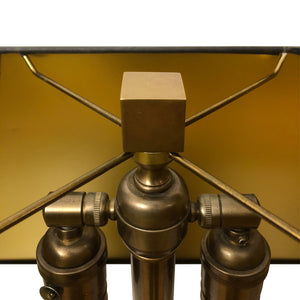 BROWN AND GOLD LAMINATE CUBE LAMP ON BRASS BASE - Flair Home Collection