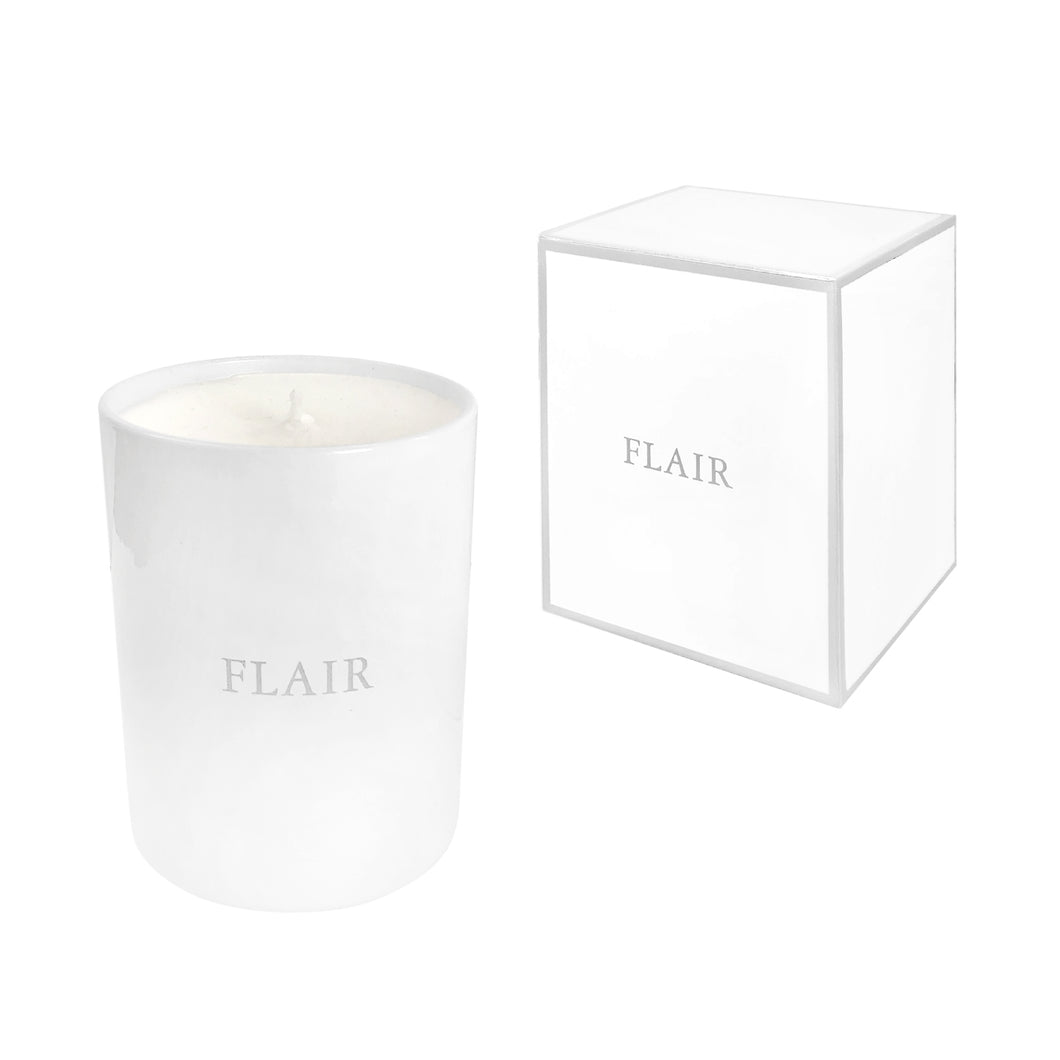 FLAIR HOME COLLECTION CANDLE IN WHITE MUSK - Flair Home Collection