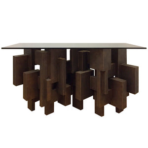 """GEO CONSOLE I"" TABLE IN BRONZE FINISH - Flair Home Collection"