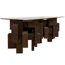 "Load image into Gallery viewer, ""GEO CONSOLE I"" TABLE IN BRONZE FINISH - Flair Home Collection"