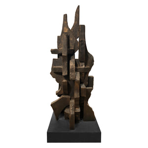 """CITIES IN DUST I"" TOTEM SCULPTURE IN BRONZE FINISH - Flair Home Collection"
