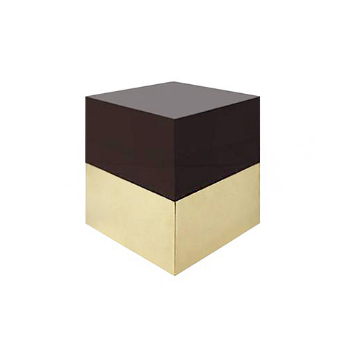 SQUARE ICE BOX IN FUME LUCITE AND BRASS - Flair Home Collection