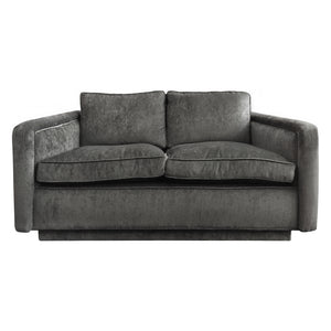 VINTAGE ANGLED ARM LOVE SEAT IN GREY VELVET - Flair Home Collection