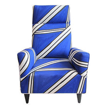 Load image into Gallery viewer, FLAIR HOME COLLECTION CUSTOM TORINO HIGH BACK CHAIR IN HAND-PAINTED TRIA FABRIC BY LIVIO DE SIMONE - Flair Home Collection