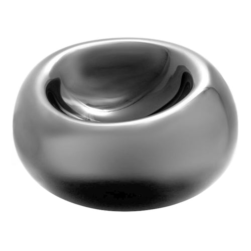 LARGE GLASS ECHO BOWL IN PEWTER - Flair Home Collection