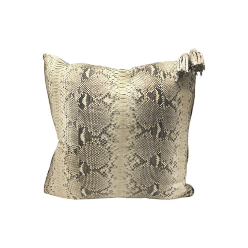 NATURAL PYTHON PILLOW WITH PALE BLUE SUEDE BACK - Flair Home Collection