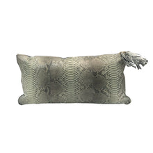 Load image into Gallery viewer, GREY PYTHON PILLOW WITH PALE BLUE SUEDE TRIM - Flair Home Collection