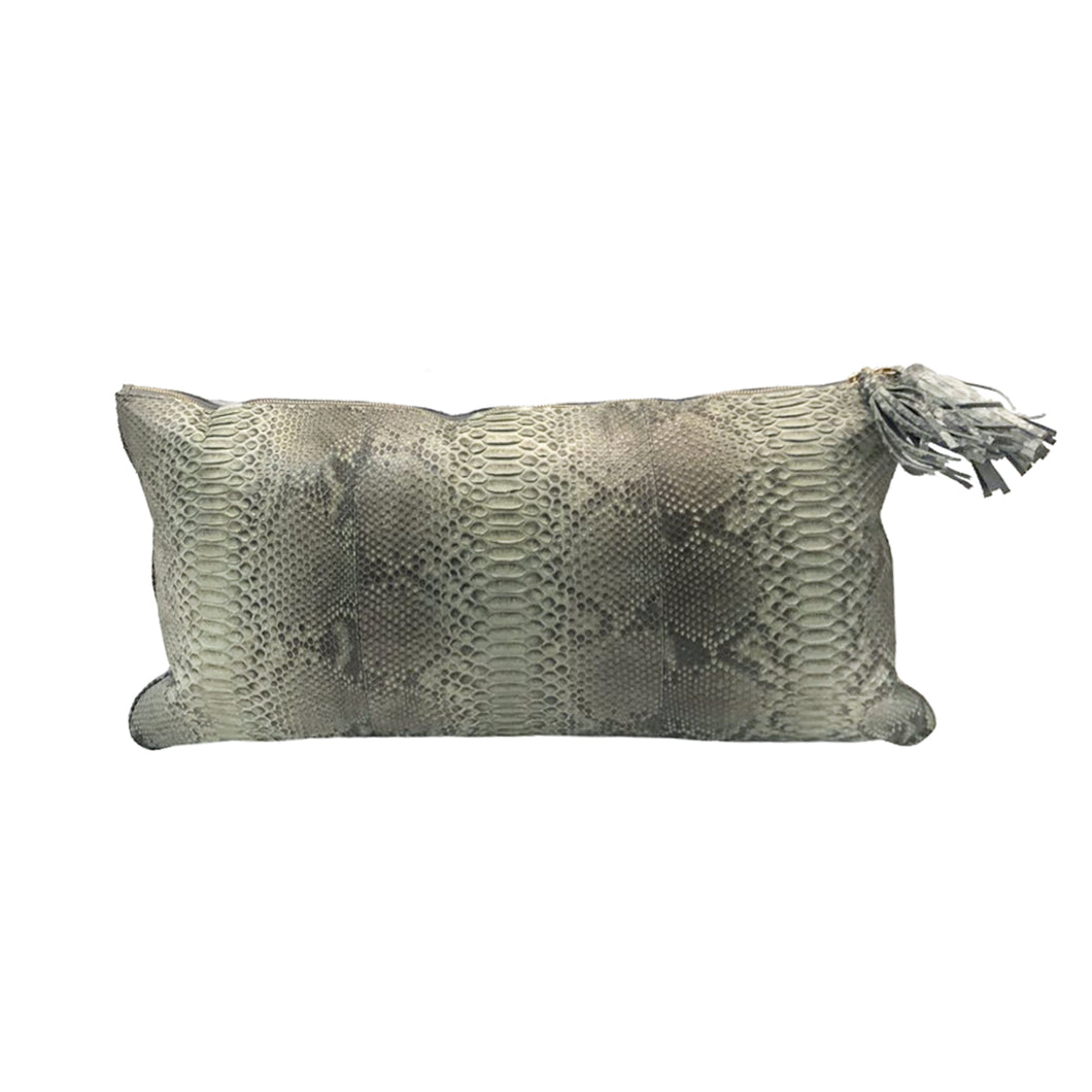 GREY PYTHON PILLOW WITH PALE BLUE SUEDE TRIM - Flair Home Collection
