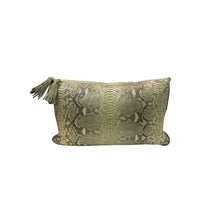 Load image into Gallery viewer, GREEN PYTHON LUMBAR PILLOW WITH PALE GREEN SUEDE BACK - Flair Home Collection
