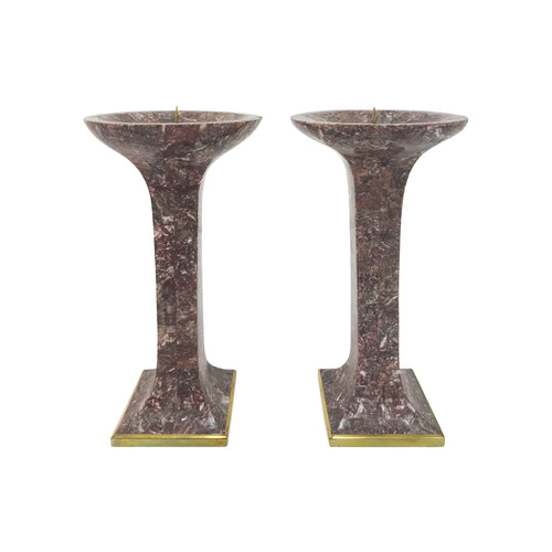 PAIR OF MAITLAND SMITH TESSELLATED STONE CANDLEHOLDERS - Flair Home Collection