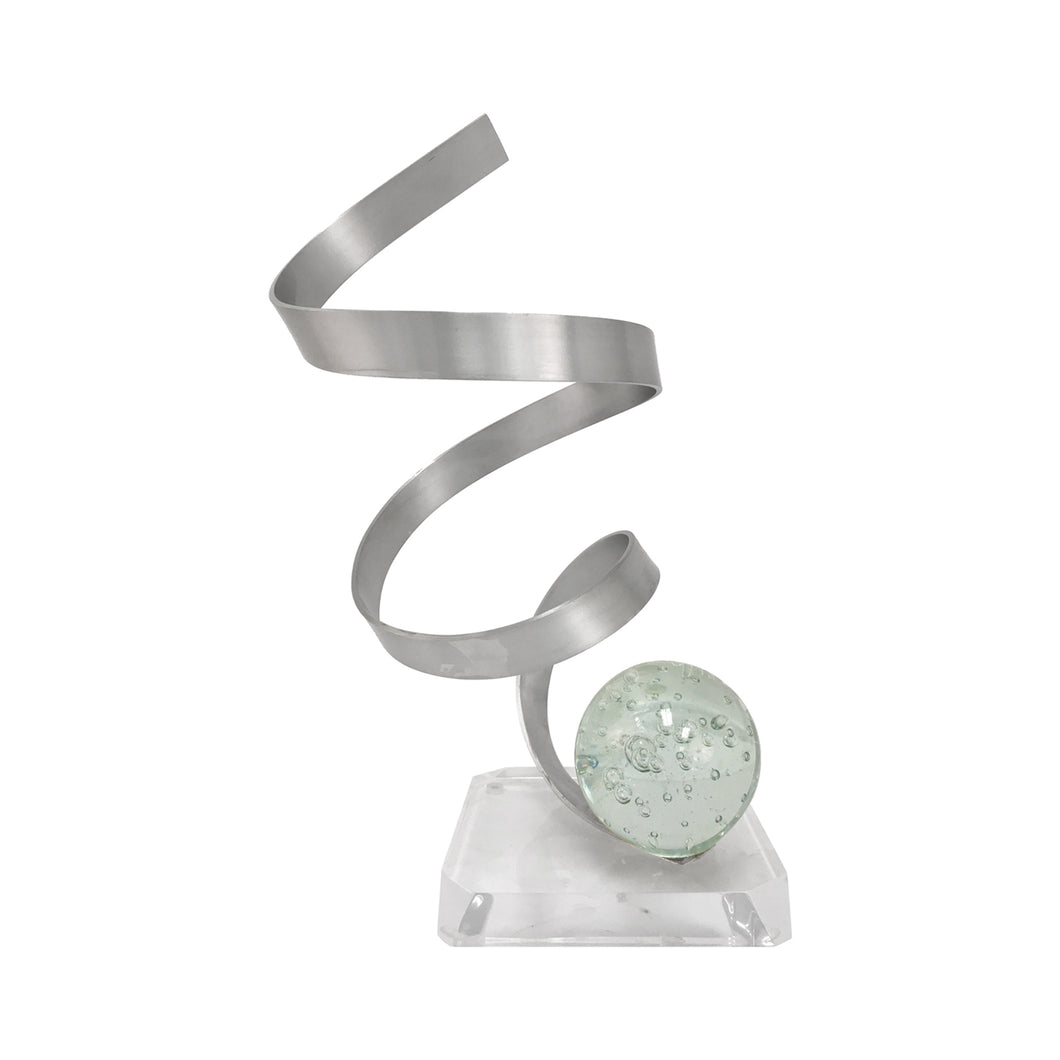 ALUMINUM RIBBON SCULPTURE WITH BUBBLED LUCITE ORB - Flair Home Collection