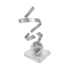 Load image into Gallery viewer, ALUMINUM RIBBON SCULPTURE WITH BUBBLED LUCITE ORB - Flair Home Collection