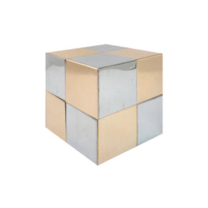 PAUL EVANS STYLE MIXED METAL CUBE - Flair Home Collection