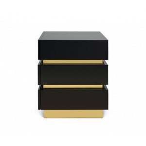 FLAIR HOME COLLECTION BANDED NIGHTSTAND IN BLACK - Flair Home Collection