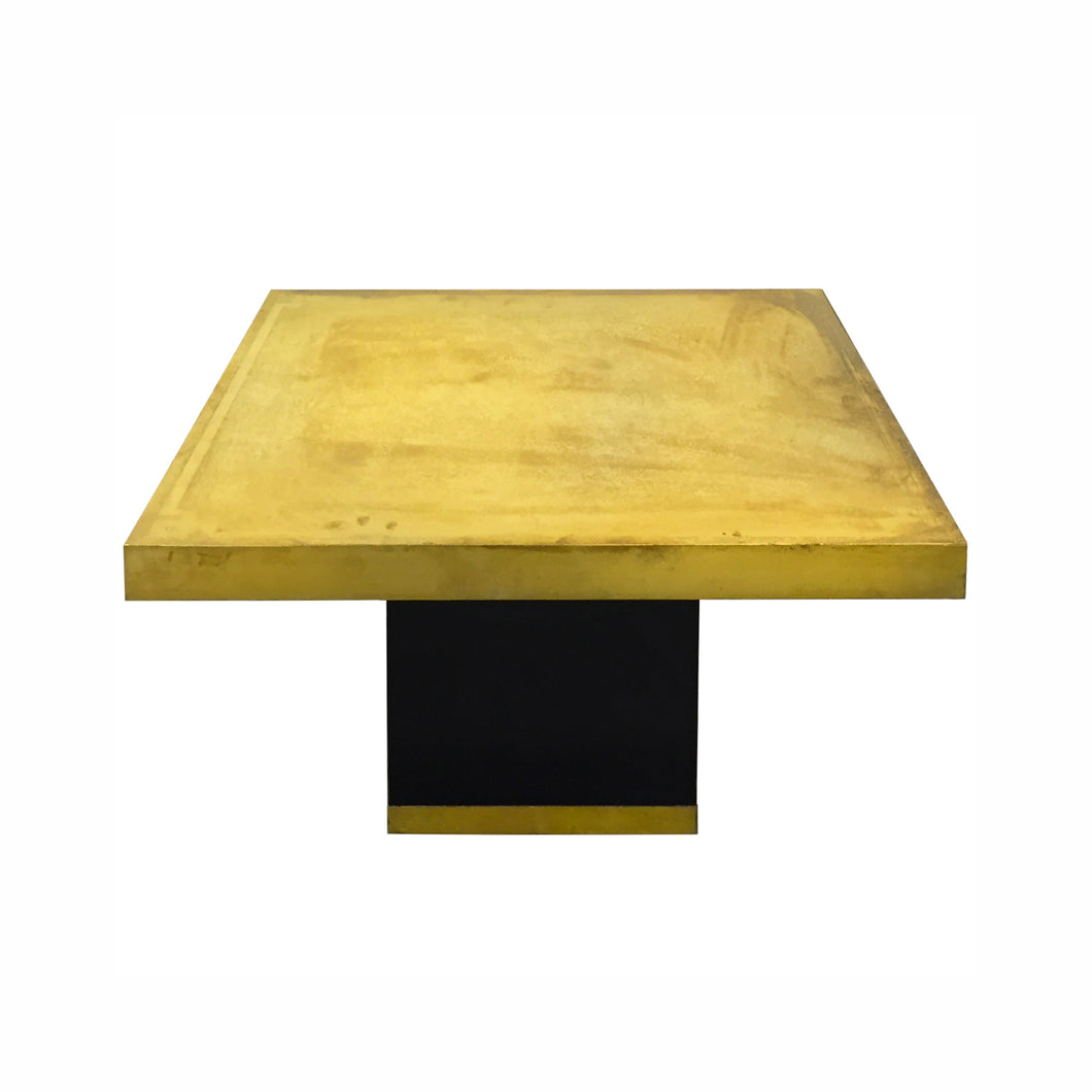SQUARE BRASS ETCHED TOP SIDE TABLE WITH CHINESE BORDER DESIGN - Flair Home Collection