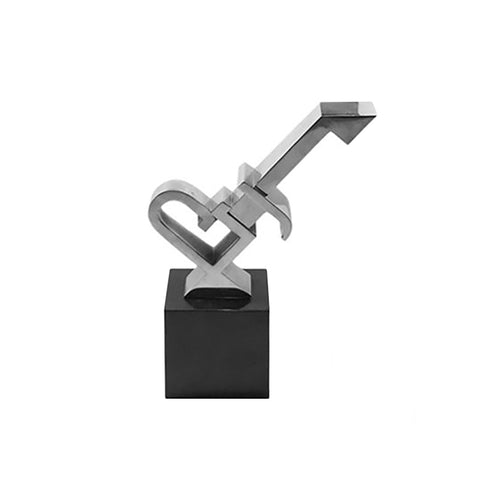 SMALL ABSTRACT NICKEL KEY SCULPTURE ON BLACK MARBLE BASE - Flair Home Collection