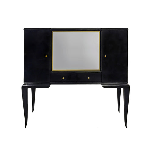 MID-CENTURY BELGIAN BLACK LACQUERED SECRETARY WITH MIRRORED PANEL BY DECOENE - Flair Home Collection
