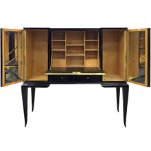 Load image into Gallery viewer, MIDCENTURY BELGIAN BLACK LACQUERED SECRETARY WITH MIRRORED PANEL BY DECOENE - Flair Home Collection
