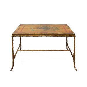 VINTAGE MAISON BAGUES BRONZE FAUX BAMBOO COFFEE TABLE WITH ANTIQUE CHINESE PANEL TOP - Flair Home Collection