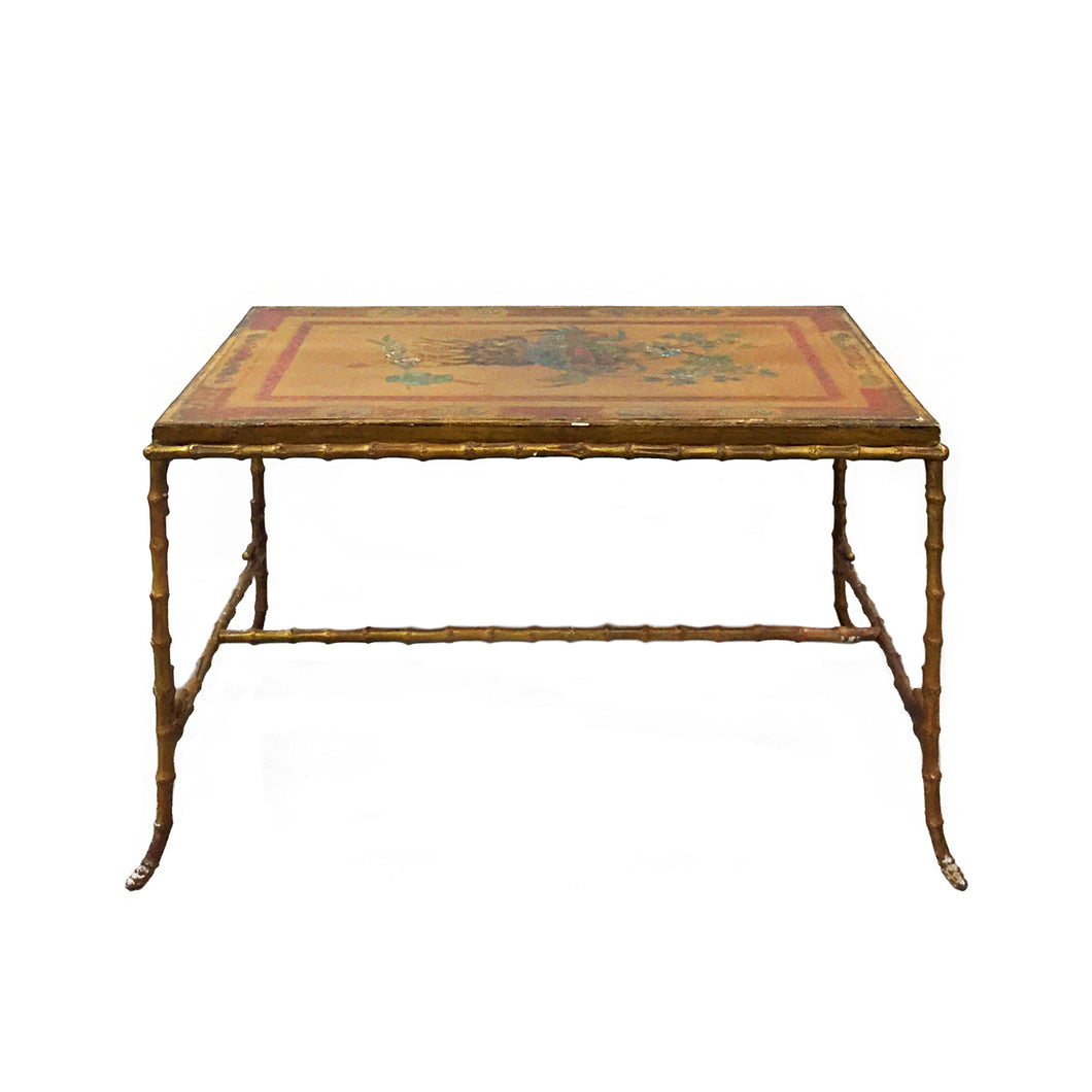 MAISON BAGUES BRONZE FAUX BAMBOO COFFEE TABLE WITH ANTIQUE CHINESE PANEL TOP - Flair Home Collection