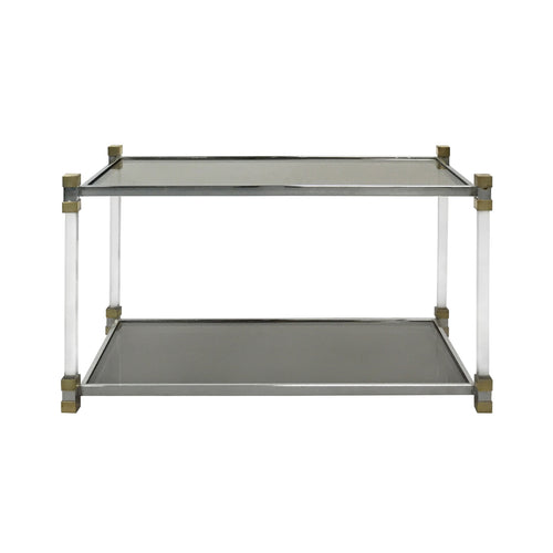 CHROME AND LUCITE TWO-TIER SIDE TABLE WITH SMOKED GLASS TOP - Flair Home Collection