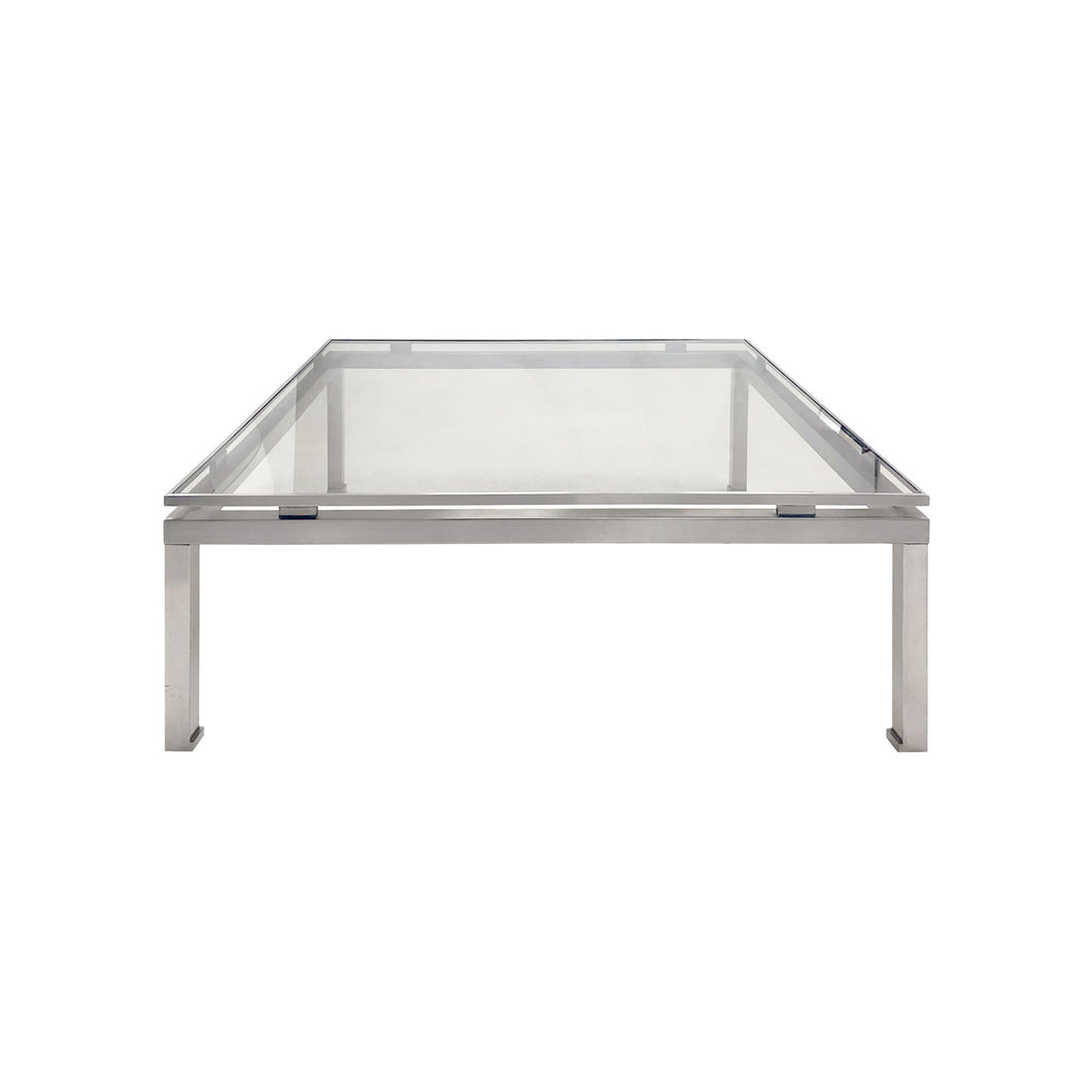 VINTAGE LARGE SQUARE BRUSHED NICKEL COFFEE TABLE BY GUY LEFEVRE - Flair Home Collection