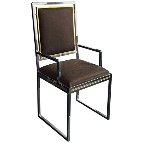 MIDCENTURY FRENCH BRASS AND CHROME DINING CHAIR WITH DARK BROWN TEXTURED UPHOLSTERY - Flair Home Collection