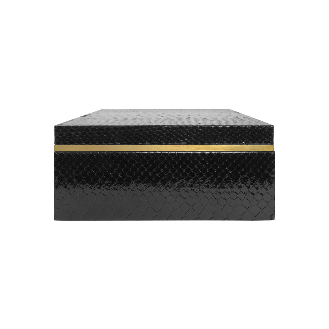 FLAIR HOME COLLECTION SQUARE BLACK PYTHON BOX - Flair Home Collection